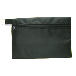 HEADGEAR POUCH ECONOMY ZIPPER W/KEY RING BLACK NJ208-03