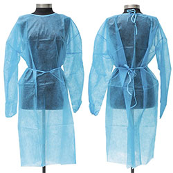 LEVEL 1 DISPOSABLE ISOLATION GOWNS BLUE 10PK 53132